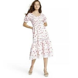 NWT Love Shack Fancy Whote Floral Midi Dress